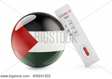 Diagnostic Test For Coronavirus In Palestine. Antibody Test Covid-19 With Palestinian Flag, 3d Rende
