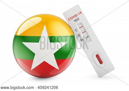 Diagnostic Test For Coronavirus In Myanmar. Antibody Test Covid-19 With Myanmar Flag, 3d Rendering I