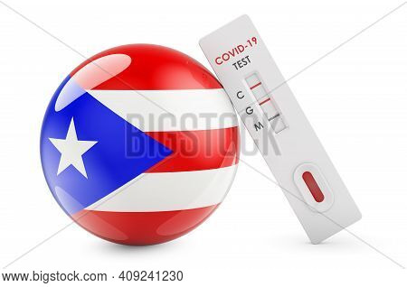 Diagnostic Test For Coronavirus In Puerto Rico. Antibody Test Covid-19 With Puerto Rican Flag, 3d Re