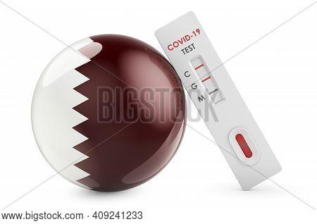 Diagnostic Test For Coronavirus In Qatar. Antibody Test Covid-19 With Qatari Flag, 3d Rendering Isol
