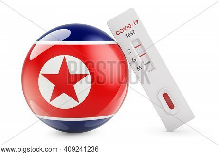 Diagnostic Test For Coronavirus In North Korea. Antibody Test Covid-19 With North Korean Flag, 3d Re