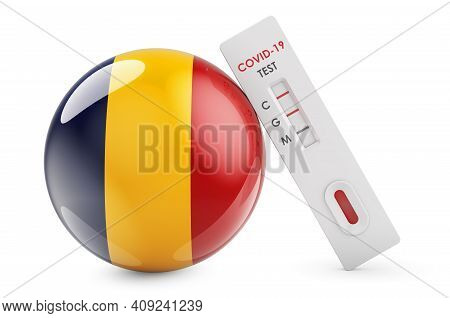 Diagnostic Test For Coronavirus In Romania. Antibody Test Covid-19 With Romanian Flag, 3d Rendering