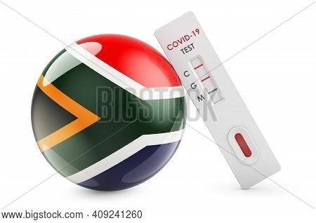 Diagnostic Test For Coronavirus In South Africa. Antibody Test Covid-19 With South African Flag, 3d