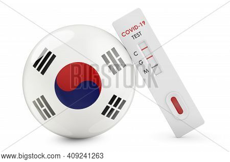 Diagnostic Test For Coronavirus In South Korea. Antibody Test Covid-19 With South Korean Flag, 3d Re