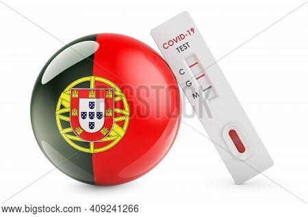 Diagnostic Test For Coronavirus In Portugal. Antibody Test Covid-19 With Portuguese Flag, 3d Renderi