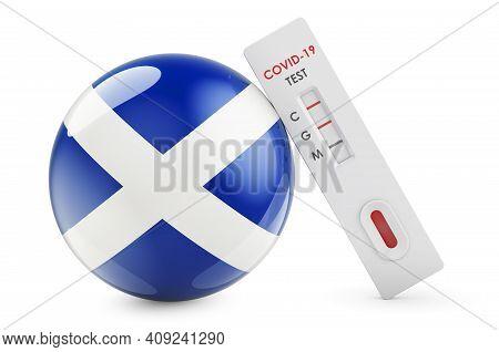 Diagnostic Test For Coronavirus In Scotland. Antibody Test Covid-19 With Scottish Flag, 3d Rendering