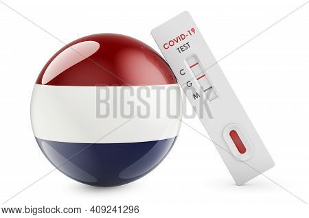 Diagnostic Test For Coronavirus In The Netherlands. Antibody Test Covid-19 With Holland Flag, 3d Ren