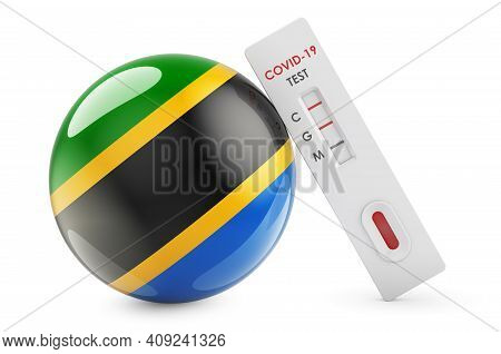 Diagnostic Test For Coronavirus In Tanzania. Antibody Test Covid-19 With Tanzanian Flag, 3d Renderin