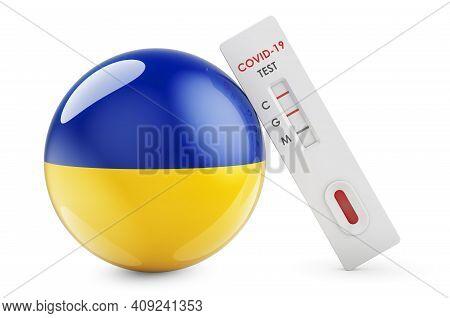 Diagnostic Test For Coronavirus In Ukraine. Antibody Test Covid-19 With Ukrainian Flag, 3d Rendering