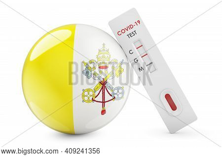 Diagnostic Test For Coronavirus In Vatican. Antibody Test Covid-19 With Vatican Flag, 3d Rendering I