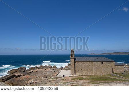 Wide View Of Lady Of Barca Sanctuary Church On Muxia Galicia Sea Coast, Camino De Santiago Landmarks