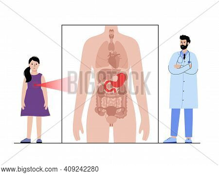 Gastritis, Pain, Inflammation In Stomach. Appointment With Doctor. Cancer Or Disease In Digestive Sy
