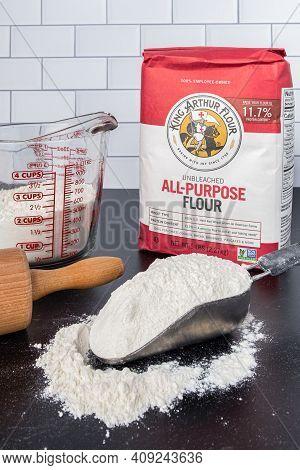 Hartford Connecticut, Usa - December 15, 2020: King Arthur Flour 5lb Bag On The Kitchen Counter With