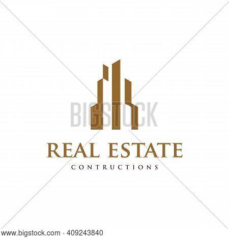 Tower Building Simple Logo, Real Estate Construction Logo Design Vector