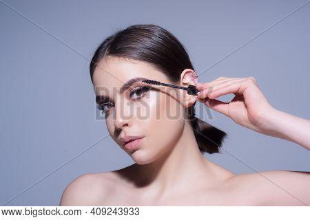 Black Mascara. Woman Eyelashes. Perfect Makeup. Beauty And Cosmetics