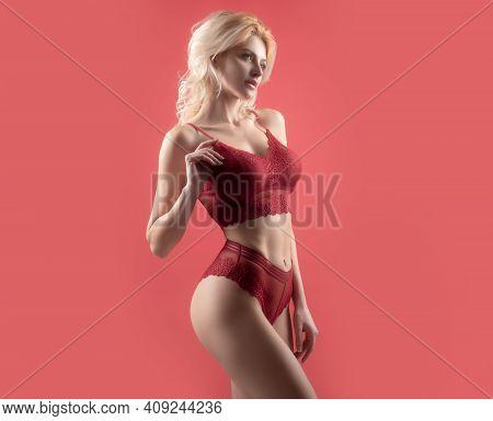 Sexy Female Body. Pretty Girl In Red Lingerie. Sexy Slim Body In Underwear