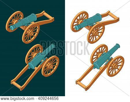 Vintage Cannon Isometric Color Drawings