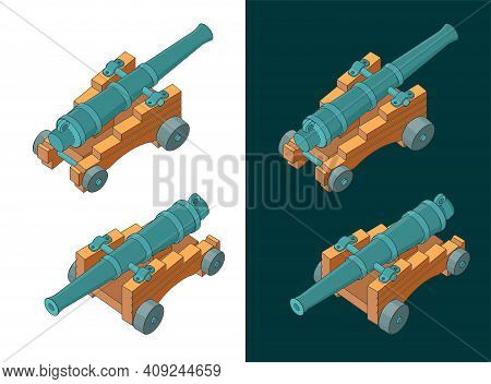 Vintage Naval Cannon Isometric Color Drawings