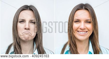 Sad And Happy Woman Face. Lady With Smiling And Frowning Face. Young Woman Expressing Different Emot