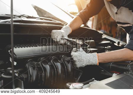 Automobile Mechanic Repairman Hands Repairing A Car Engine Automotive Workshop With A Wrench, Car Se