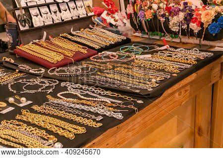 Necklaces And Bracelets. Souvenir. Jewelry Souvenir Shop. Colorful Jewelry