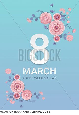 Womens Day 8 March Holiday Celebration Banner Flyer Or Greeting Card With Decorative Paper Flowers 3