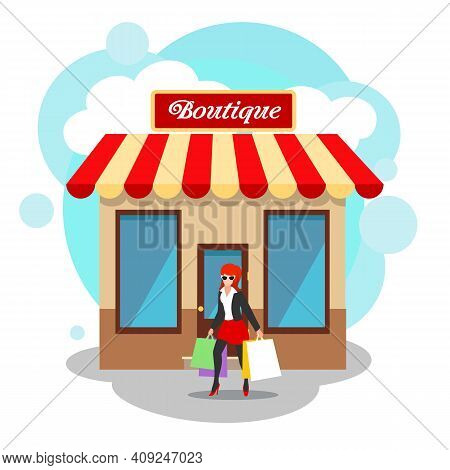 Boutique Exterior Image. Fashion Lifestyle Store Front View Vector Illustration With Fashionable Clo