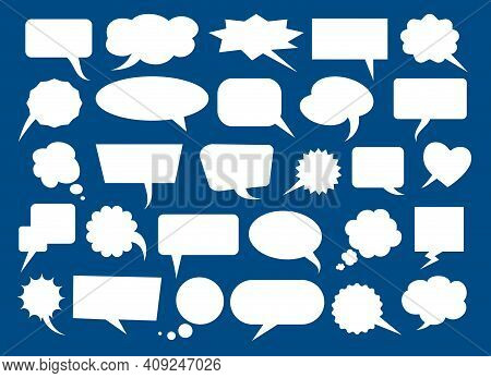 Speech Bubbles Blank Boxes. Vector Bubbly Tags For Price Or Text Information, Discussion Messages Ca