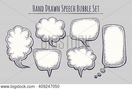 Hand Drawn Speech Bubble Set. Sketch Text Bubbls Style Templates For Chat, Drawing Cartoon Bubbly Ba