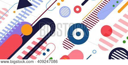 Abstract Creative Dynamic Geometric Wide Elements Artwork Cover Background. Use For Ad, Poster, Temp