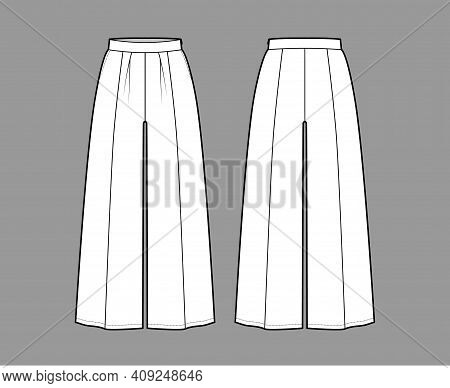 Pants Gaucho Technical Fashion Illustration With Low Waist, Rise, Single Pleat, Ankle Cropped Length