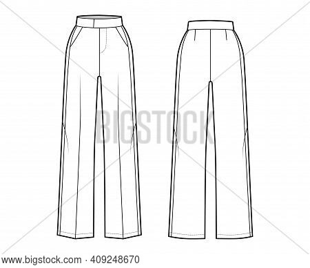Pants Tuxedo Technical Fashion Illustration With Extended Normal Waist, High Rise, Full Length, Slan