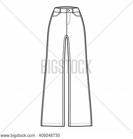 Jeans Wide Leg Denim Pants Technical Fashion Illustration With Full Length, Normal Waist, 5 Pockets,