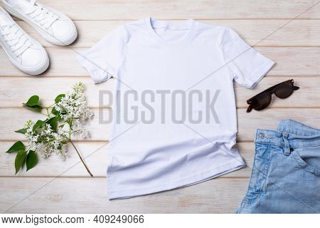 Women's T-shirt Mockup With Lilac And White Sneakers