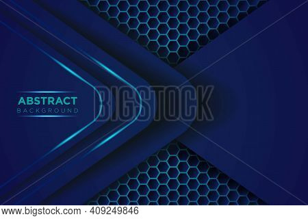 Dark Abstract Background With Blue Overlap Layers. Modern Shape With Sparkle Light And Blue Hexagon