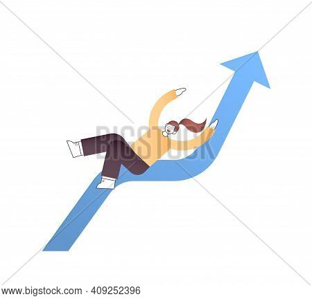 Businesswoman Sliding Down Falling Economic Arrow Financial Crisis Bankrupt Investment Risk Business