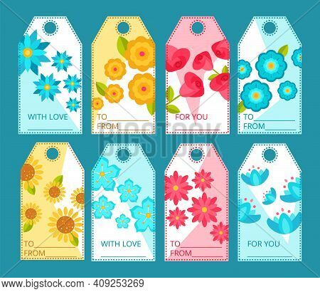 Tags With Blooming Flowers Collection. Colorful Price And Gift Tags With Beautiful Blooming Flowers,