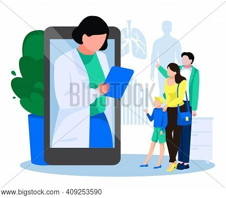 Patients Meeting With Doctor Online. Family Having Medical Consultation Ar Professional Physician Vi