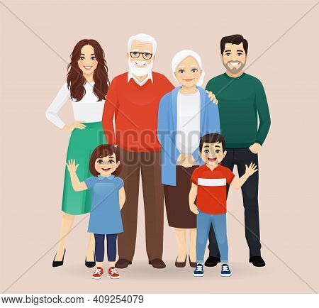Big Happy Family With Grandparents And Childrens Vector Illustration Isolated. Mother, Father, Daugh