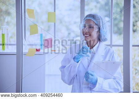 Female Scientist Look At Microscope, Science Test Tube Analyse Scientific Sample In Laboratory Resea