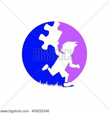 Kids With Puzzle Pieces Vector Logo Design Concept Illustrations Concept Illustrations For Education