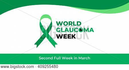 World Glaucoma Week. Vector Banner, Poster, Flyer, Greeting Card For Social Media With Text World Gl