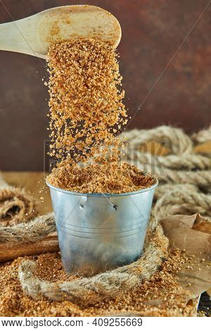 Teff, An Alternative To Ancient Gluten-free Grain With The Name Written In Wooden Letters. Teff Drip