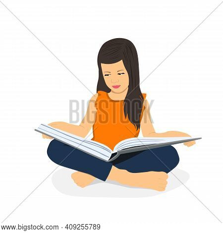 Little Girl Is Reading A Book While Sitting. Distance Learning. Home Education. School Girl Girl Doi