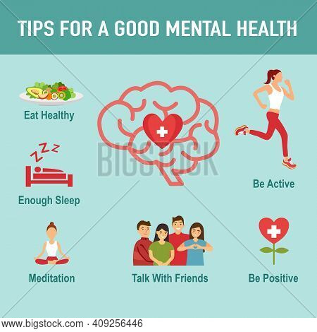 Tips For A Good Mental Health With Useful Advices Infographic Concept Vector Illustration. Healthy B
