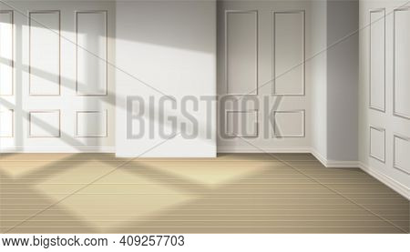 3d Realistic Vector Room With Light From The Window. Room Design Interior Of Apartment, Office. Natu