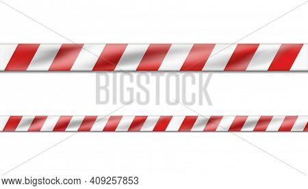 3d Realistic Vector Hazard White And Red Striped Ribbon, Caution Tape Of Warning Signs For Crime Sce