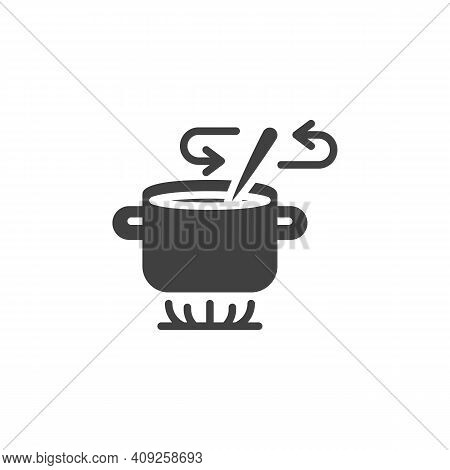 Stirring With Spoon Vector Icon. Filled Flat Sign For Mobile Concept And Web Design. Soup Preparatio