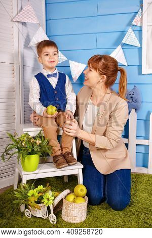 Mommy Practicing Foreign Language Words Pronunciation With Small Son. Young Professional Speech Ther