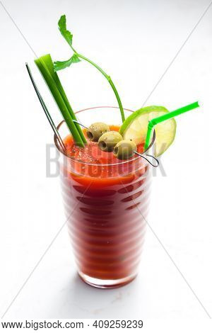 bloody mary cocktail made of tomato juice and alcohol
